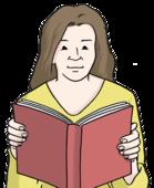 Das Bild zeigt eine Frau. Die Frau hält ein Buch in der Hand.